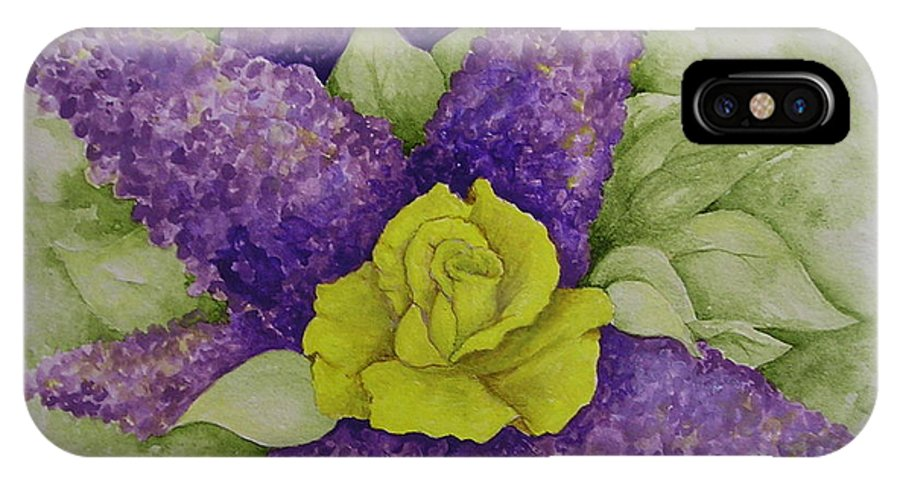 Flowers IPhone X / XS Case featuring the painting A Rose Among The Lilacs by Catherine Howley