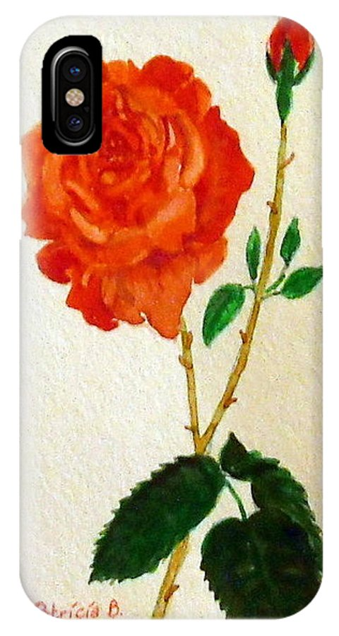 Rose IPhone X Case featuring the painting A Rose For Rosa by Patricia Blanton