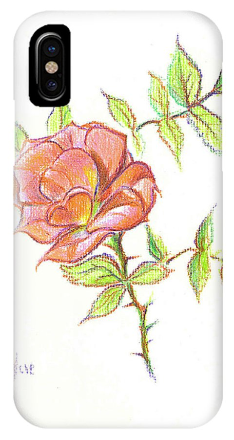 A Rose In Brigadoon IPhone X Case featuring the drawing A Rose In Brigadoon by Kip DeVore