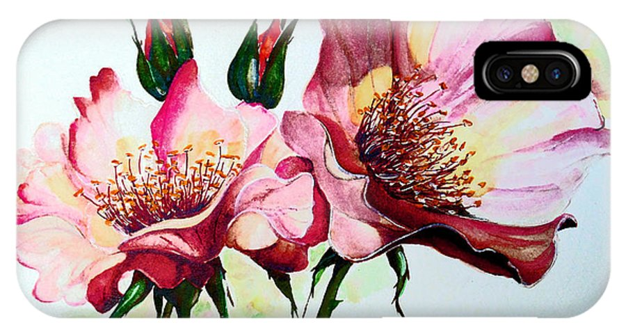Flower Painting IPhone X Case featuring the painting A Rose Is A Rose by Karin Dawn Kelshall- Best
