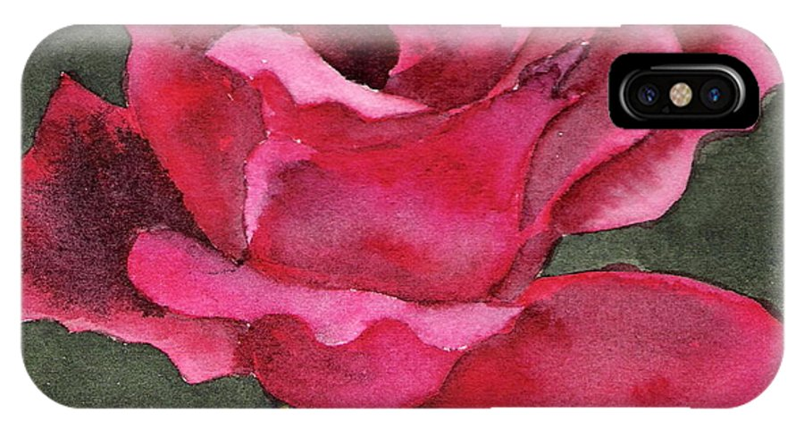 Rose Flower Red Painting Watercolor Still Life IPhone X Case featuring the painting A Rose Is A Rose by Marsha Woods