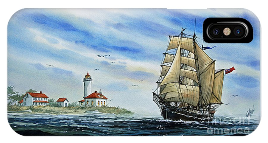 Tall Ship Print IPhone X Case featuring the painting A Ship There Is by James Williamson