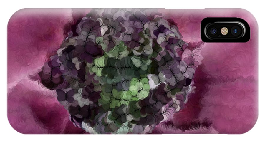 Flowers IPhone X Case featuring the digital art A Sky Full Of Lighters Pink Green by Holley Jacobs