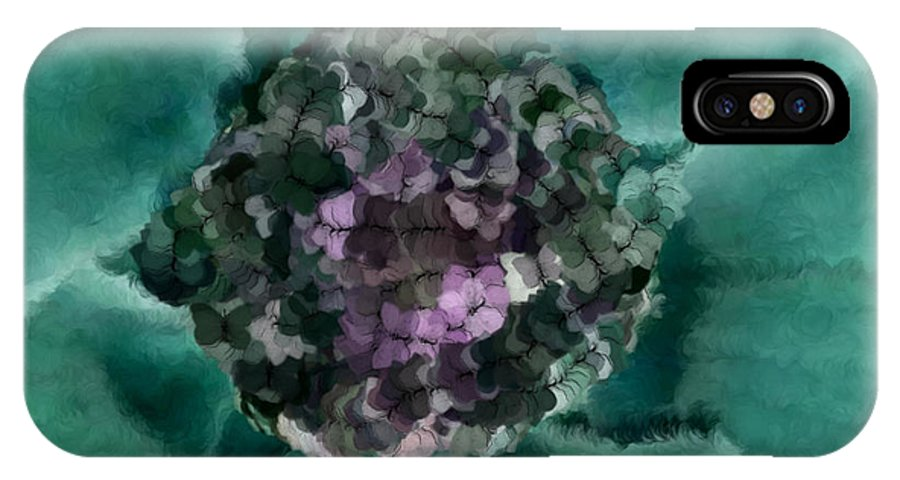 Flowers IPhone X Case featuring the digital art A Sky Full Of Lighters Teal Purple by Holley Jacobs