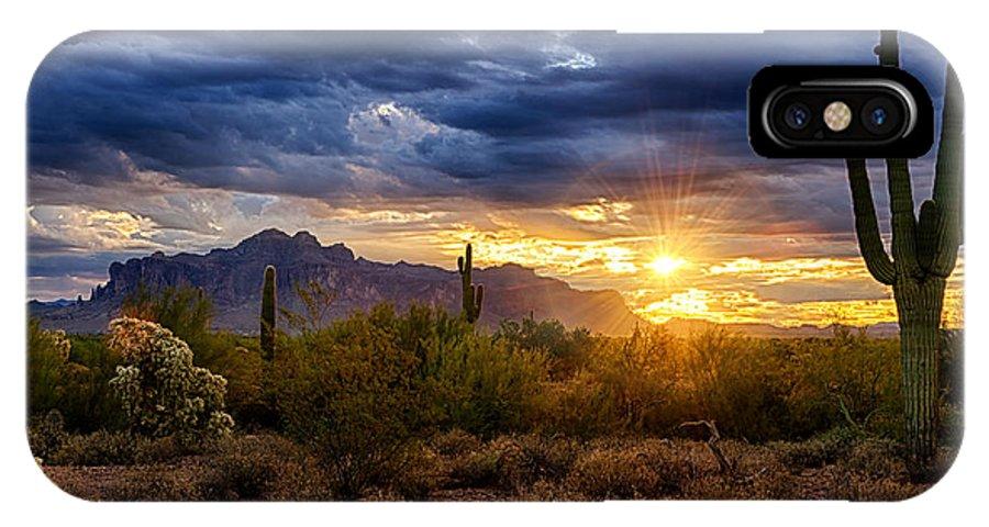 Sunrise IPhone X Case featuring the photograph A Sonoran Desert Sunrise by Saija Lehtonen