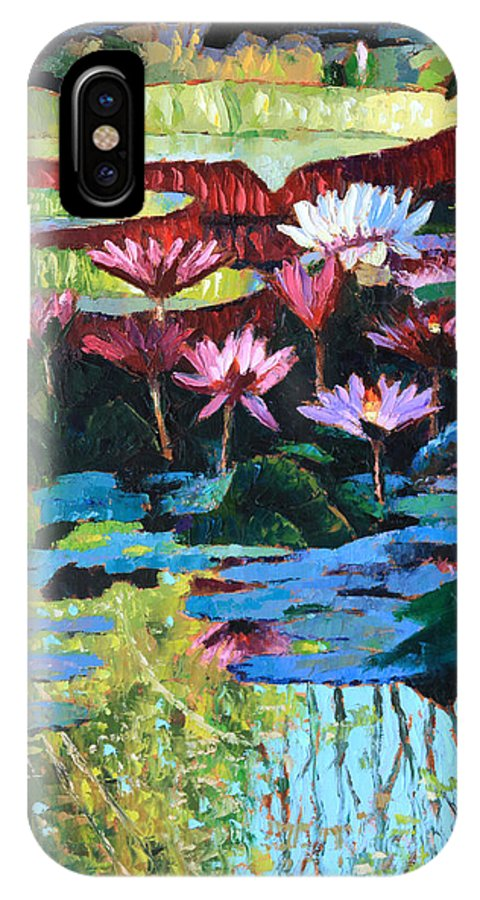 Garden Pond IPhone X Case featuring the painting A Splash of Sunlight by John Lautermilch