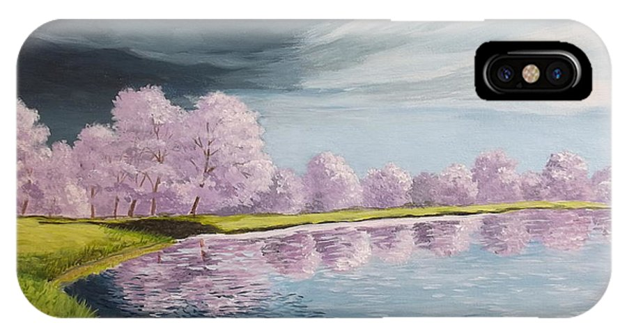 Landscape IPhone X / XS Case featuring the painting A Storm Over Cherry Trees by Wanda Dansereau