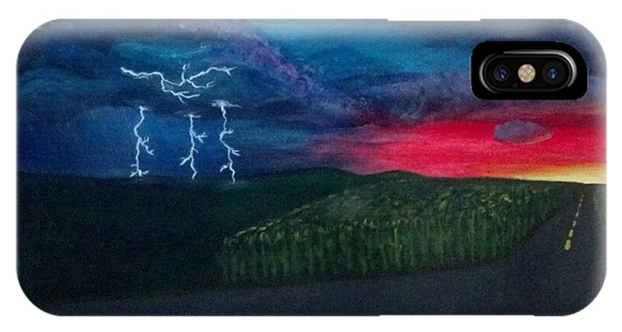 Landscape IPhone X Case featuring the painting A Stormy Sunset by Kayla Twardowski