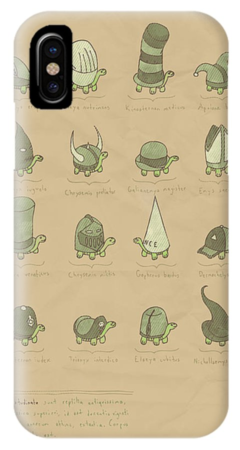 Tutle IPhone X Case featuring the digital art A Study Of Turtles by Hector Mansilla
