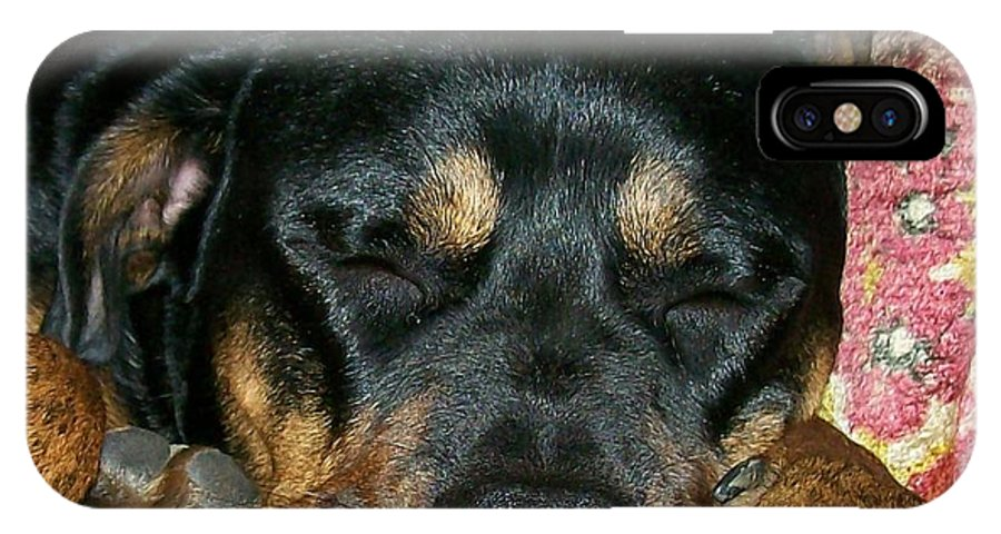 Rottweiler IPhone X Case featuring the photograph A Tired Boss by Sara Raber
