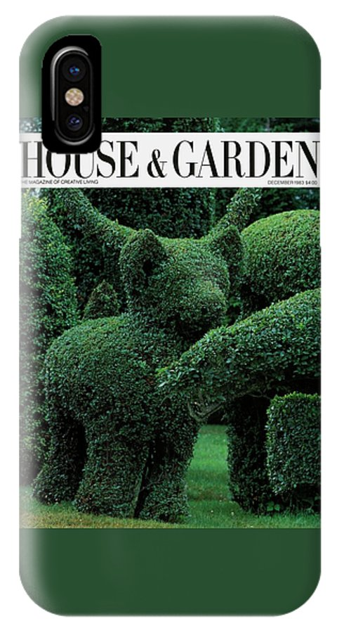 Animal IPhone X Case featuring the photograph A Topiary Bear In Alice Braytons Green Animals by Horst P. Horst