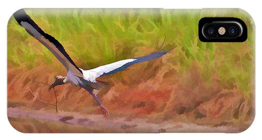 Bird Florida Crane Heron Twig Nest Flying IPhone X Case featuring the photograph A Twig For Her Nest by Alice Gipson