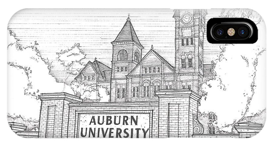Samford Hall IPhone X Case featuring the drawing A U by Calvin Durham