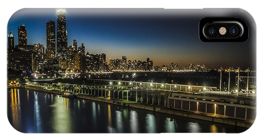 Chicago Skyline IPhone X Case featuring the photograph A Unique Look At The Chicago Skyline At Dusk by Sven Brogren