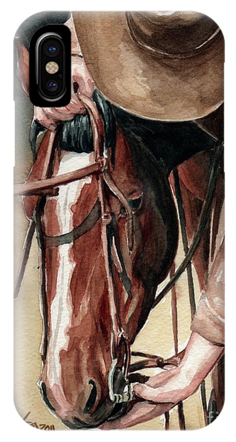 Wild Horse IPhone X Case featuring the painting A Useful Horse by Linda L Martin