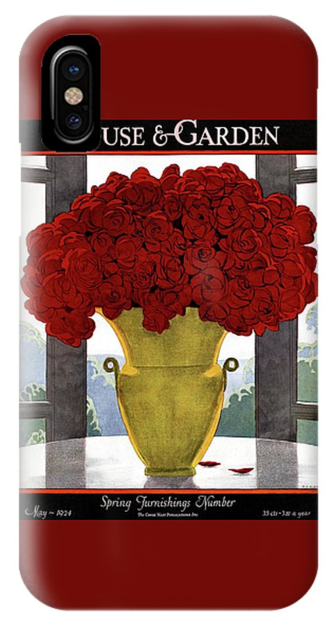House And Garden IPhone X Case featuring the photograph A Vase With Red Roses by Andre E Marty