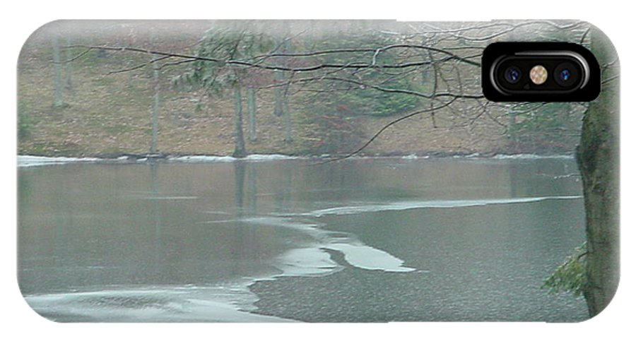 Lake IPhone X Case featuring the photograph A Very Cold Rain by Nancie Johnson