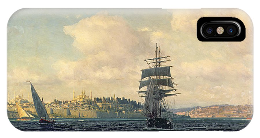 Boat IPhone X Case featuring the painting A View Of Constantinople by Michael Zeno Diemer