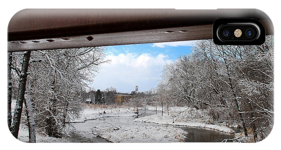 Faa 031314; Waterloo; Wiscons; Stream; Winter; Firemen's Park; You; Youker Park; Maunesha River; River; Landscape; IPhone X Case featuring the photograph A View Of The Maunesha In A Fresh Blanket Of Snow by Janice Adomeit