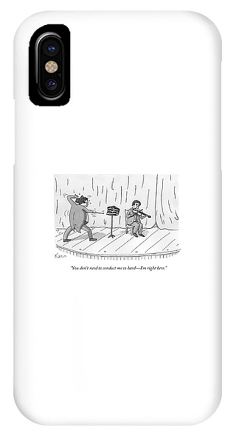 Orchestra IPhone X Case featuring the drawing A Violinist Speaks To A Wildly Gesturing by Zachary Kanin