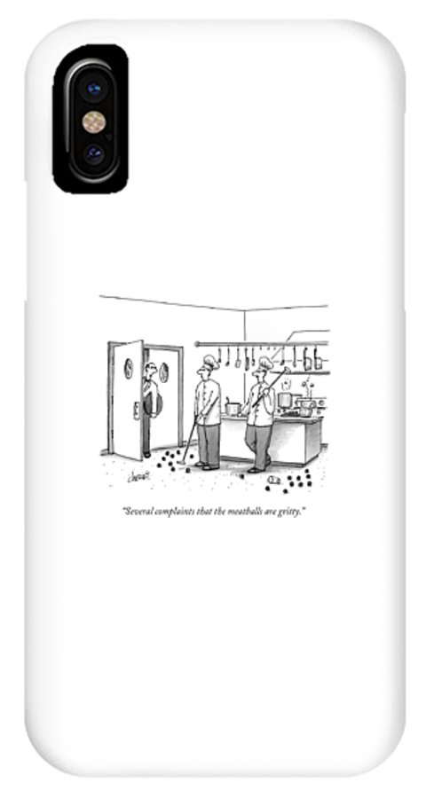 Chefs IPhone X Case featuring the drawing A Waiter Speaks To Two Chefs In A Kitchen Who by Tom Cheney