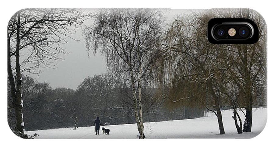 Winter IPhone X Case featuring the photograph A Walk In The Snow. by Les OGorman