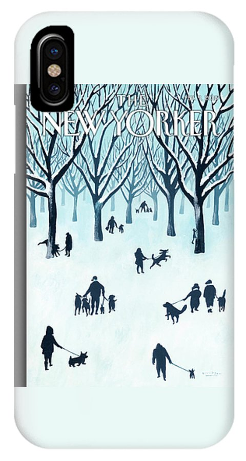 Snow IPhone X Case featuring the painting A Walk In The Snow by Mark Ulriksen