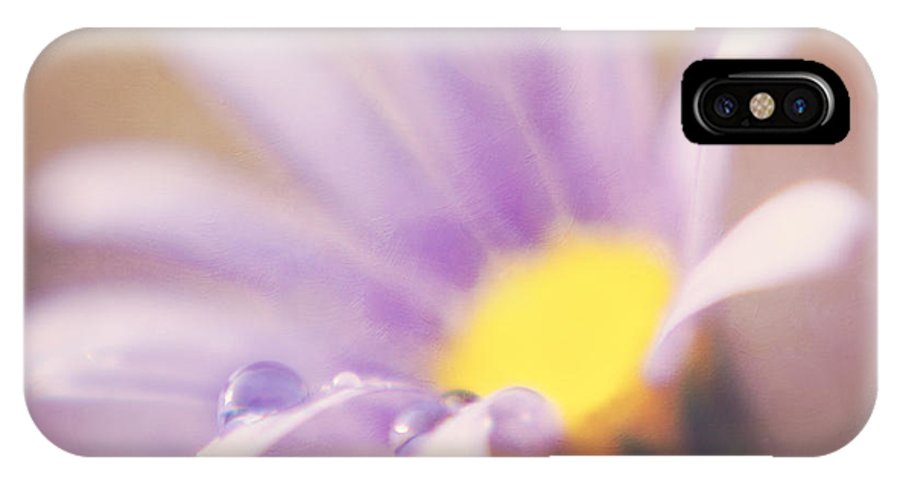 Daisy IPhone X Case featuring the photograph A Waterdrop On The Petal Of A Daisy by LHJB Photography