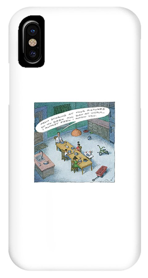 Family IPhone X Case featuring the drawing A Wealthy Man Addresses His Familiy At Dinner by John O'Brien