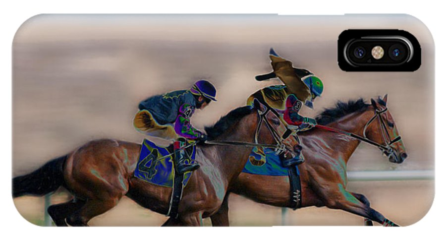 Racehorse IPhone X Case featuring the photograph A Wing And A Prayer by Francine Hall