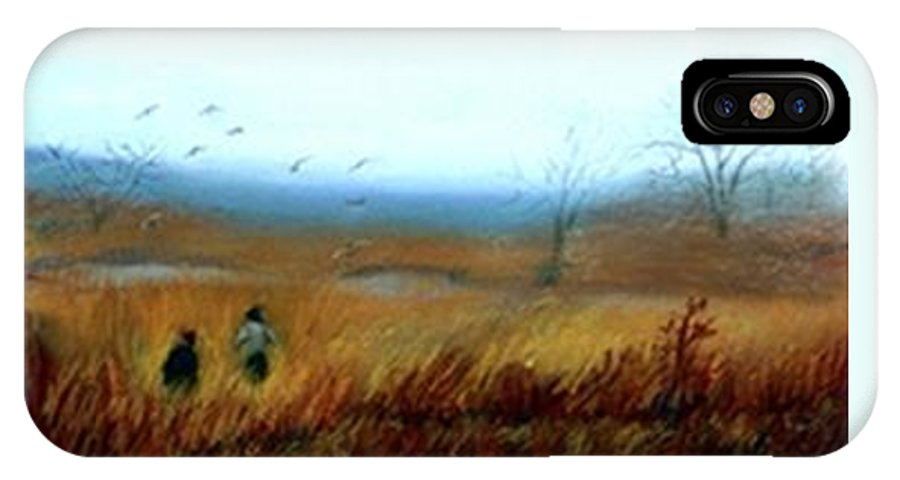 Figures IPhone X Case featuring the painting A Winter Walk by Gail Kirtz