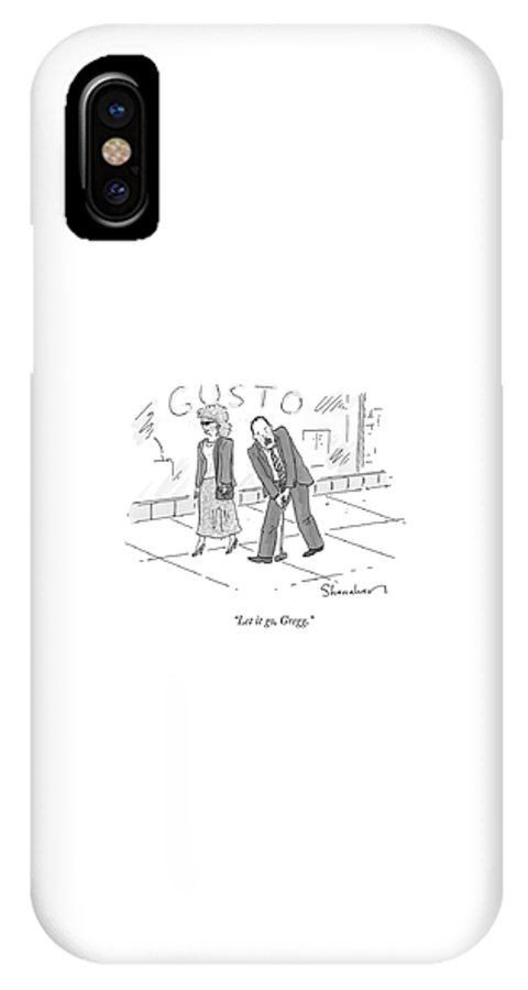 Golf IPhone X Case featuring the drawing A Woman And A Man Walk Side By Side. The Man by Danny Shanahan
