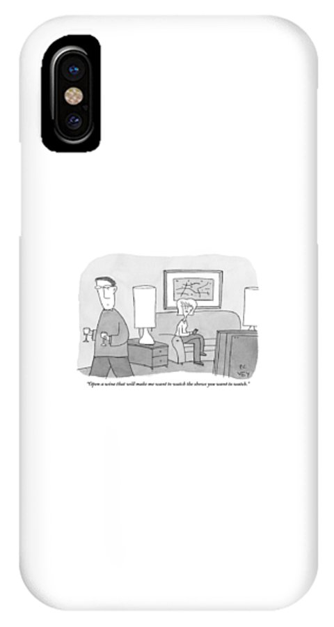 Wine IPhone X Case featuring the drawing A Woman Seated On A Couch In Front by Peter C. Vey