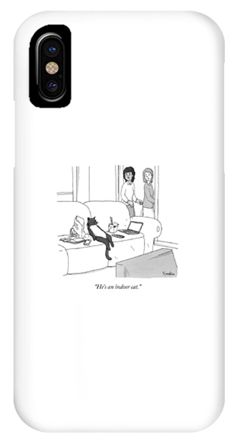 Pet IPhone X Case featuring the drawing He's An Indoor Cat by Charlie Hankin