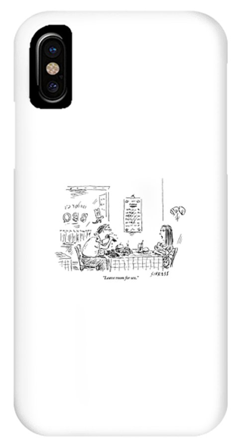 Food IPhone X Case featuring the drawing A Woman With Her Arms Crossed Addresses by David Sipress