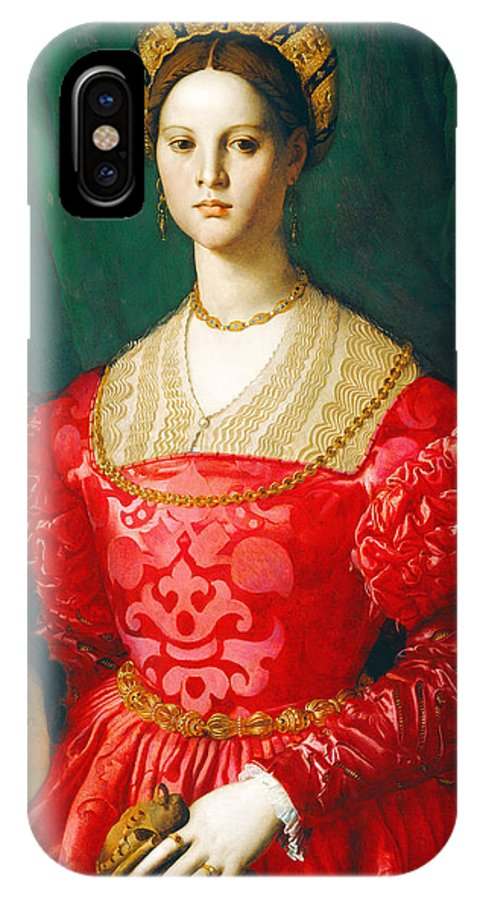 A Young Woman And Her Little Boy IPhone X Case featuring the painting A Young Woman And Her Little Boy by Bronzino