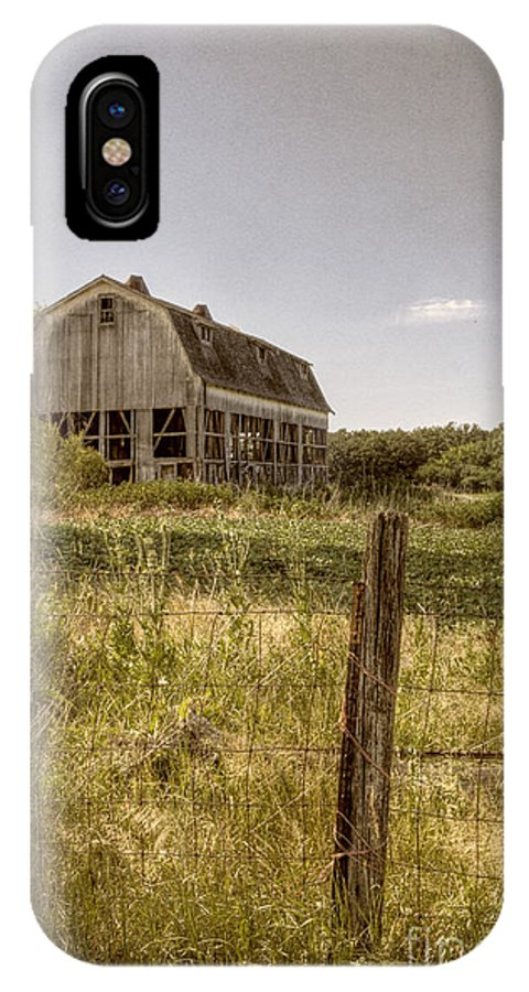 Field; Pasture; Farm; Grasses; Barn; Outside; Outdoors; Day; Nature; Vintage; Old; Sky; Rural; Land; Abandoned; Damaged; Empty; Broken; Weeds; Worn; Weathered; Fence; Post; Barbed Wire; Protected; Enclosed IPhone X Case featuring the photograph Abandoned Farm by Margie Hurwich
