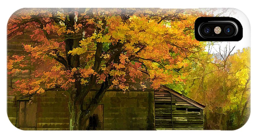 Autumn Landscape Of Abandoned House. Big Tree In Foreground Surrounded By Autumn Colored Trees In Background. IPhone X Case featuring the photograph Abandoned In The Country by Elaine Walsh