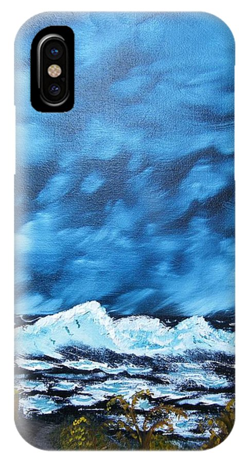Beach IPhone X Case featuring the painting Abandoned by Margaret G Calenda