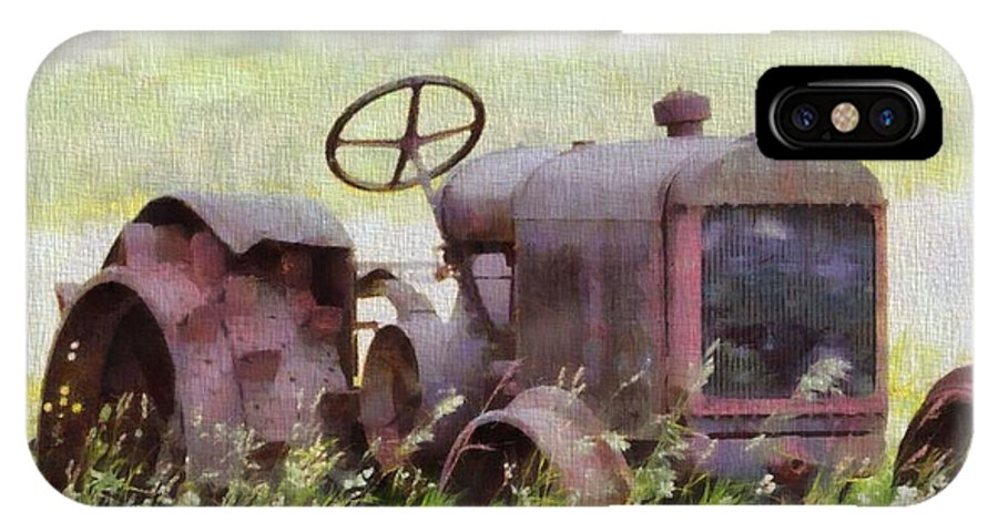 Abandoned Tractor On The Farm IPhone X Case featuring the painting Abandoned Tractor On The Farm by Dan Sproul