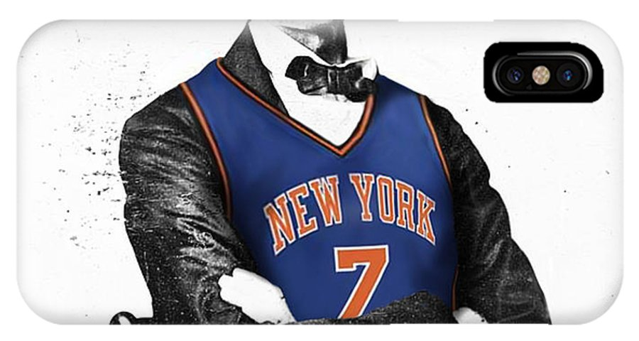 Abe Lincoln Drawings IPhone X Case featuring the digital art Abe Lincoln In A Carmelo Anthony New York Knicks Jersey by Roly O