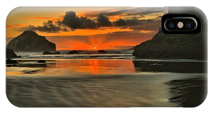 Bandon Beach IPhone X Case featuring the photograph About To Go Out by Adam Jewell