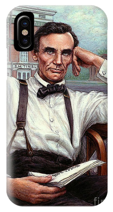 Occupy China IPhone X Case featuring the painting Abraham Lincoln Of Springfield Bicentennial Portrait by Jane Bucci