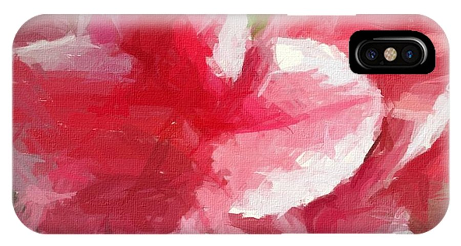 Abstract 106 Pink Painterly Flowers IPhone X Case featuring the painting Abstract 106 Pink Painterly Flowers by Barbara Griffin