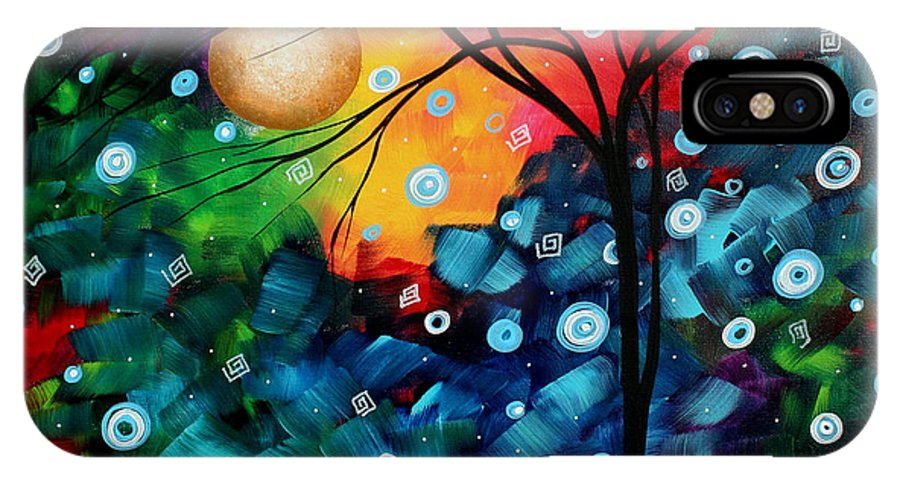 Abstract IPhone X Case featuring the painting Abstract Art Landscape Tree Painting Brilliance In The Sky Madart by Megan Duncanson