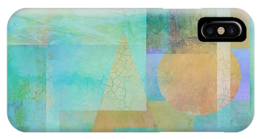 Abstract IPhone X Case featuring the digital art abstract - art- Tahitian Blue Square by Ann Powell