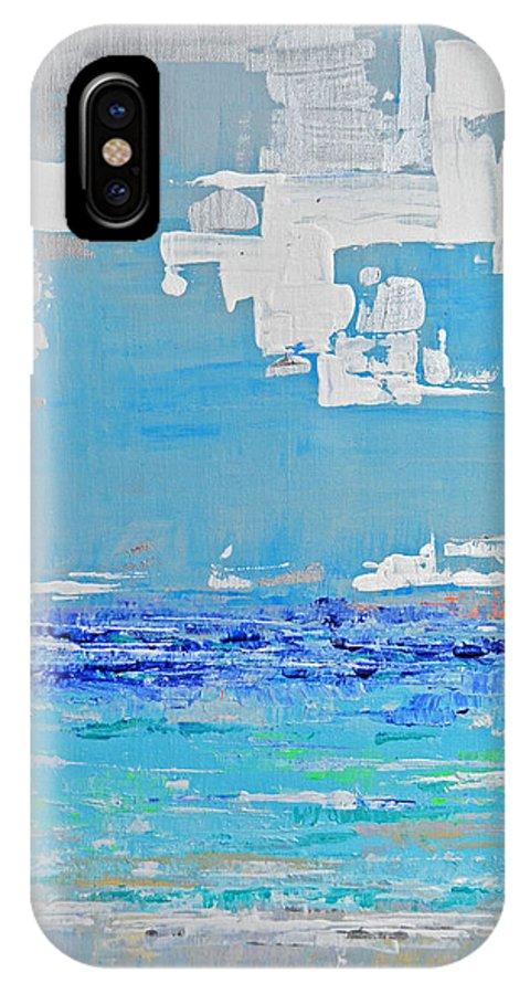 Beach IPhone X Case featuring the painting Silver Sky Beach by Paola Correa de Albury
