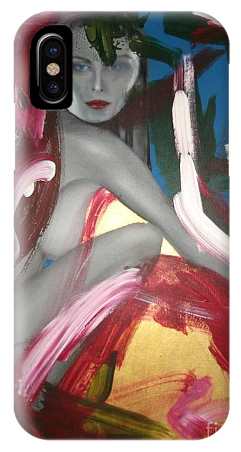 Model IPhone X Case featuring the painting Abstract Carol Alt by John Sabey Jr