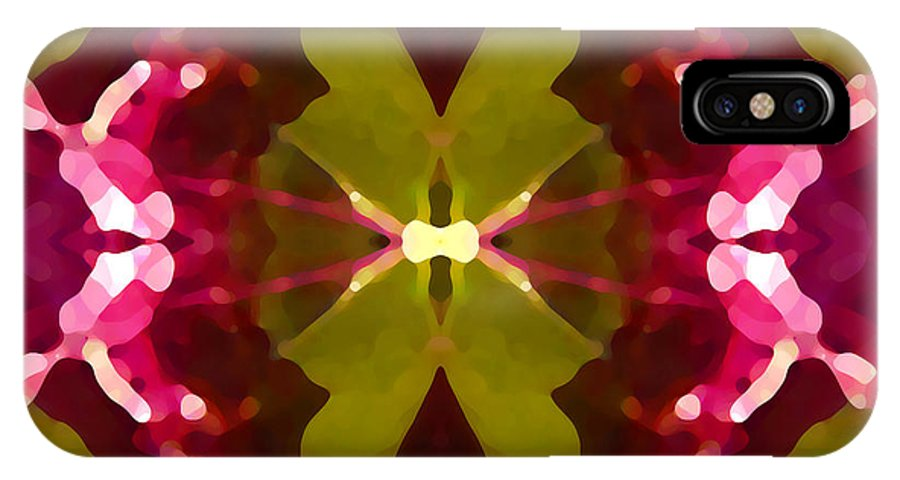 Contemporary IPhone X Case featuring the painting Abstract Crystal Butterfly by Amy Vangsgard