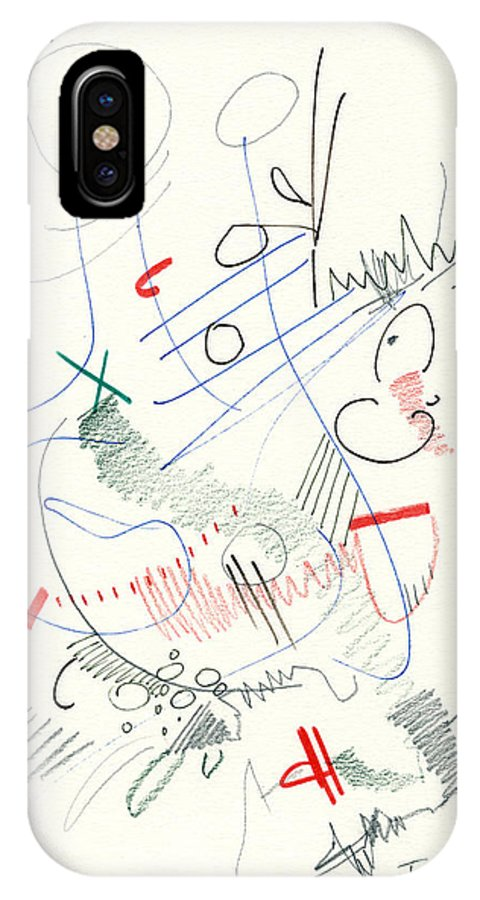 Abstract IPhone X Case featuring the drawing Abstract Drawing Fifty-five by Lynne Taetzsch
